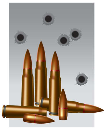 military still-life. Illustration with the image of an ammunition