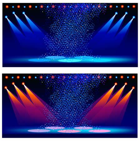 illumination: Variants of illumination of a concert scene. Vector illustration