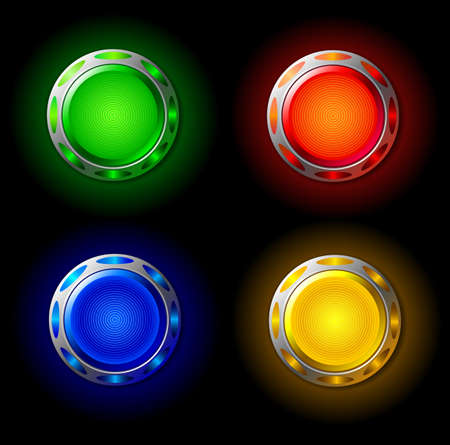 Set of colored luminous buttons. Vector illustration