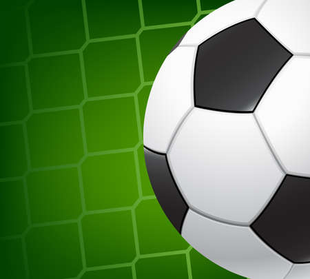 gridiron: Soccer background. Soccer ball on the background grid goalie gate