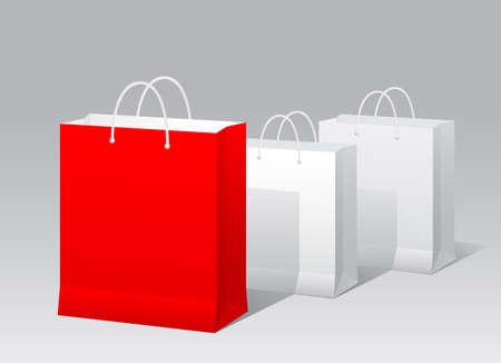 conceptual symbol: Promotional paper bag conceptual symbol. Vector illustration