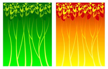 vegetative: Summer and Autumn background with vegetative elements Illustration