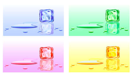ice surface: Color options ice cubes with water drops. illustration