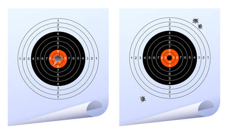targets: Target with holes from the shots. Vector illustration
