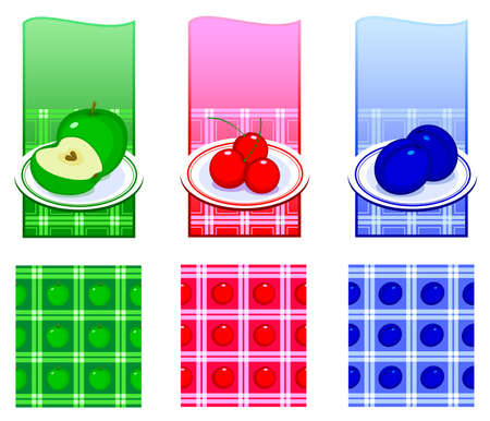 food plate: Set of backgrounds with food. A plate with food on the kitchen tablecloth. Vector illustration