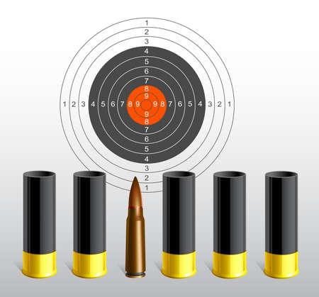 Target and bullets. Conceptual symbol. Vector illustration