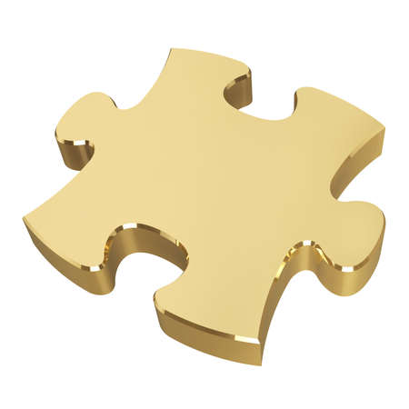 Gouden puzzel. Geïsoleerd op een witte achtergrond. 3D illustratie Stockfoto - 82438543