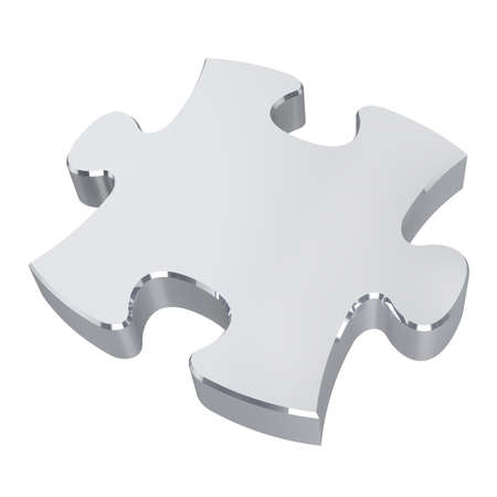 Silver puzzle. Isolated on white background. 3D illustration 版權商用圖片