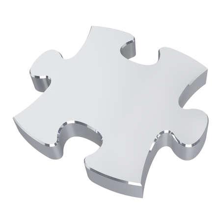Zilveren puzzel. Geïsoleerd op een witte achtergrond. 3D illustratie Stockfoto - 82515889