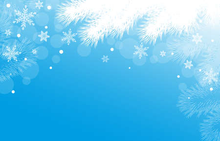 Blue New Year or Christmas background with fir branches and snowflakes Ilustracja