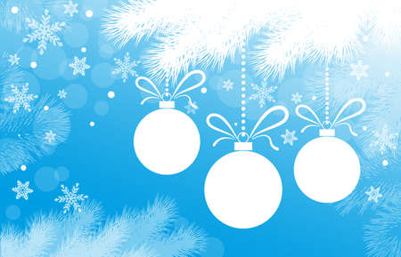 Blue New Year or Christmas background with fir branches christmas balls and snowflakes