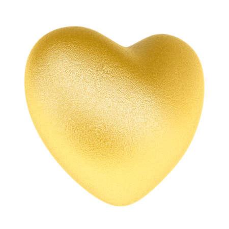 Golden heart. Isolated on white background. 3D illustration Zdjęcie Seryjne
