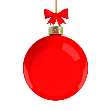 Red Christmas ball with a red bow. 3D illustration