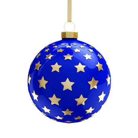 Blue Christmas ball with golden stars. Isolated on white background. 3D illustration
