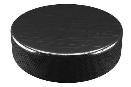 Sports Ice Hockey Puck. Isolated on white background. 3D illustration Zdjęcie Seryjne
