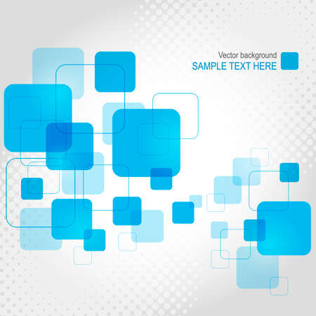 Abstract geometric background with transparent blue squares. Vector illustration