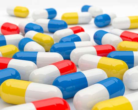 Spilled Pills on a light surface. 3D illustration