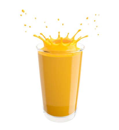 Splash of orange juice in a glass. Isolated on white background. 3D illustration.
