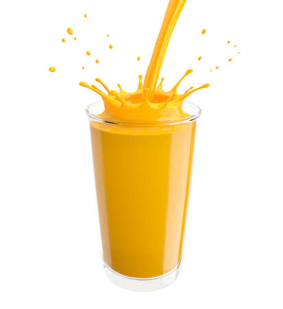 Orange juice pours into the glass. Isolated on white background. 3D illustration