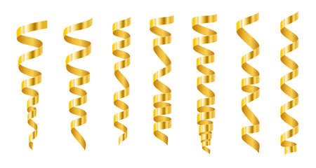 Set of gold serpentine on white background. Vector illustration