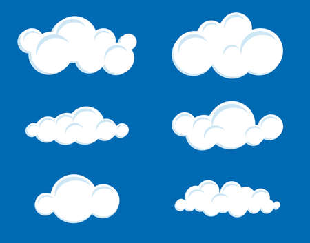 A set of stylized clouds of different shapes. Vector illustration