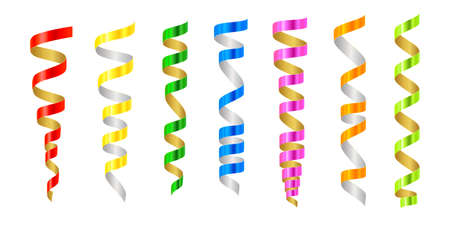 Set of colorful serpentine on white background. Vector illustration