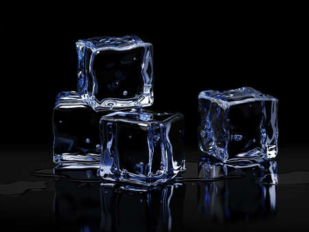 Ice cubes with drops of water on black background. 3D illustration