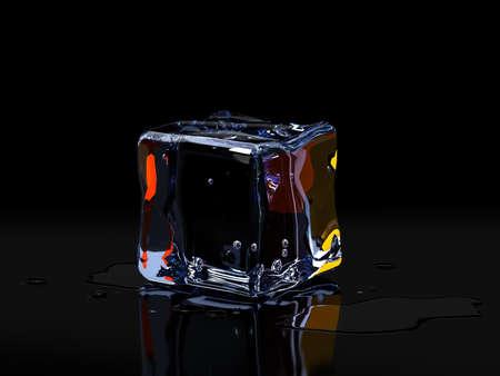 Ice cubes on black background. 3D illustration Zdjęcie Seryjne