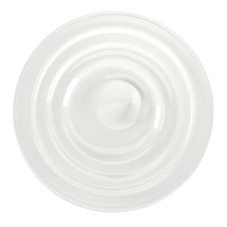 White bowl of sour cream, yogurt, mayonnaise. Top view. Isolated on white background. 3D illustration