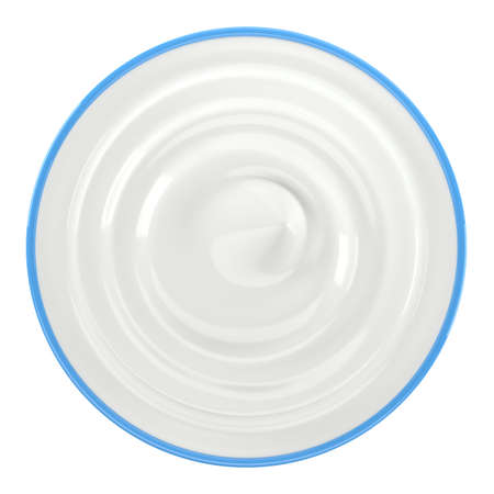 Blue bowl of sour cream, yogurt, mayonnaise. Top view. Isolated on white background. 3D illustration