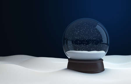 Snow globe at night in the snow. 3D illustration Stock Photo