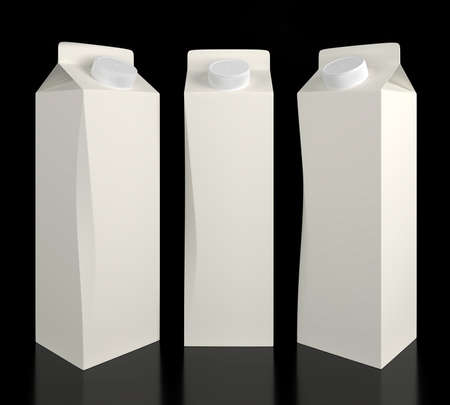 Blank carton milk and juice packaging 1l on a dark background. 3D illustration