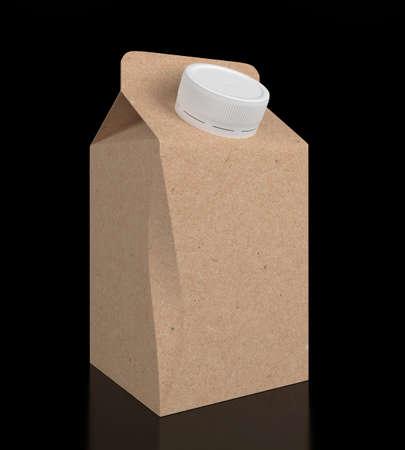 Blank carton milk on white background. 3D illustration