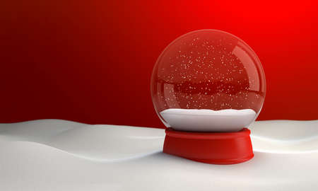 Snow globe at night in the snow in the winter. 3D illustration