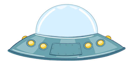 UFO.Flying saucer.Cartoon Vector Illustration. Isolated on white background.