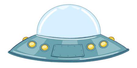 UFO.Soucoupe volante. Illustration vectorielle de dessin animé. Isolé sur fond blanc.