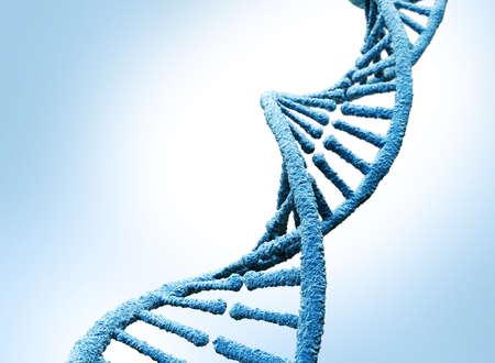 DNA molecule. Isolated on blue background. 3D illustration Zdjęcie Seryjne