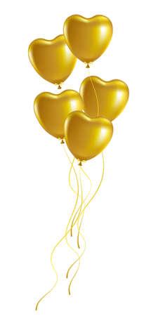 Bunch of golden heart-shaped festive balloons. Vector illustration.