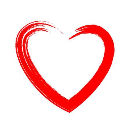 Heart symbol drawn by brush on white background. Vector illustration