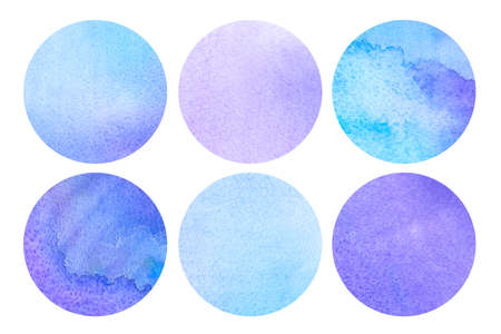 Set of round watercolor backgrounds in cool tones. Design elements.