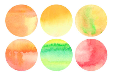 Set of round watercolor backgrounds in warm colors. Design elements.