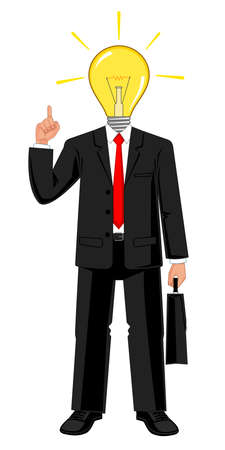 Businessman with light bulb in his head. concept of a creative idea. Vector illustration Ilustracja