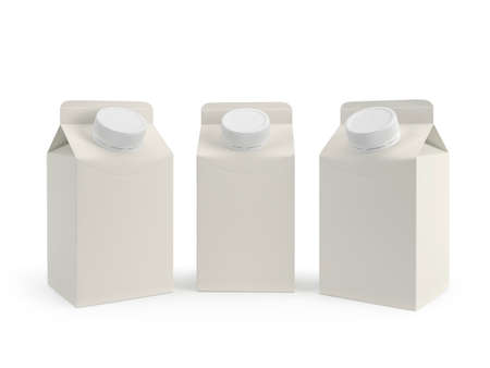 Packaging of milk is three kinds. Isolated on white background. 3D render
