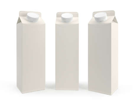 Packaging of milk is three kinds. Isolated on white background. 3D render.
