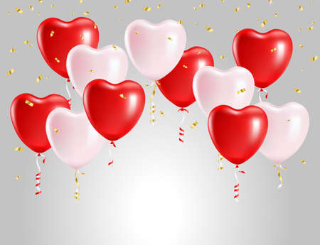 Balloons in the form of hearts. Festive vector background Ilustracja