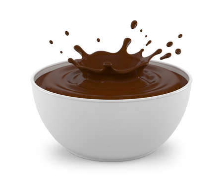 Splash of chocolate in a white bowl. Isolated on white background. 3D illustration