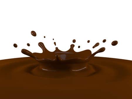 Splash of chocolate Isolated on white background. 3D illustration 写真素材
