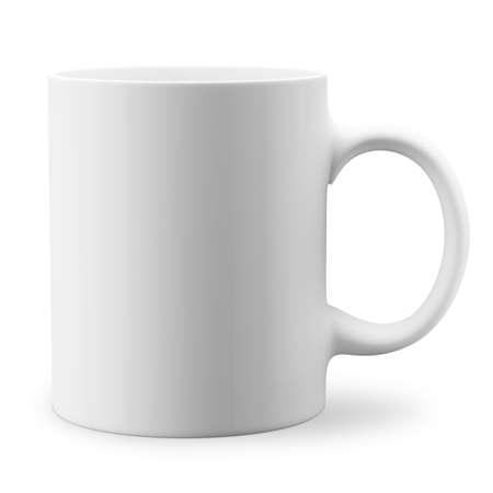 White mug. Isolated on white background. 3D illustration.