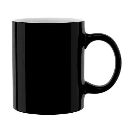 Black mug. Isolated on white background. 3D illustration. 写真素材