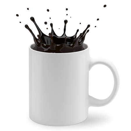 A cup of coffee splashes. Isolated on white background. 3D illustration